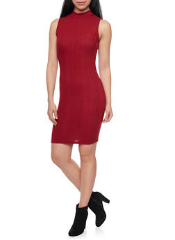 Ribbed Sleeveless Dress with Mock Neck - 1094058930418