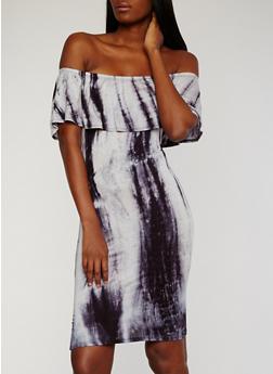 Tie Dye Off the Shoulder Midi Dress - 1094058930955