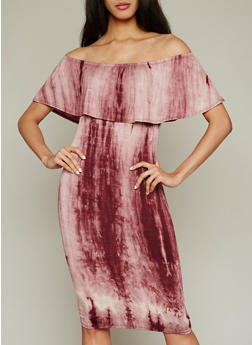 Tie Dye Off the Shoulder Midi Dress - 1094058930955