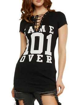 Lace Up Graphic Tunic Top - BLACK - 1094058930960