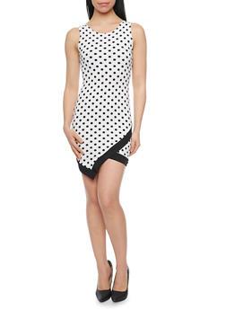 Mini Polka Dot Bodycon Dress with Envelope Hem - 1094058931119