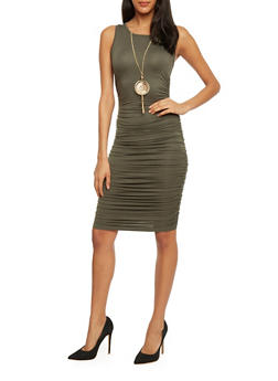 Sleeveless Ruched Bodycon Dress with Detachable Necklace - 1094058932110