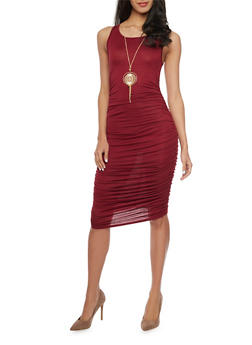 Sleeveless Ruched Bodycon Dress with Detachable Necklace - BURGUNDY - 1094058932110