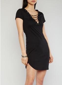 Lace Up V Neck T Shirt Dress - BLACK - 1094058933128