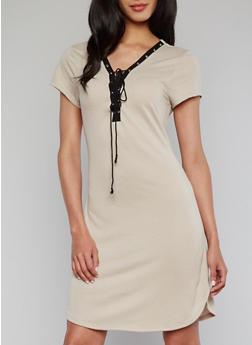 Lace Up V Neck T Shirt Dress - 1094058933128