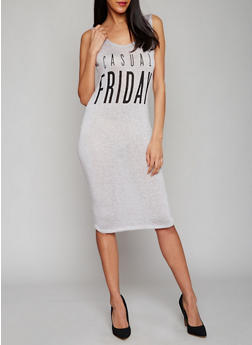 Casual Friday Graphic Tank Dress with Plunging Lace Up Back - 1094058935336