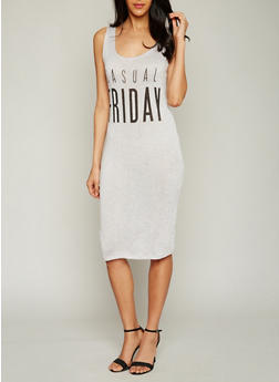 Casual Friday Graphic Dress with Lace Up Back - 1094058935636