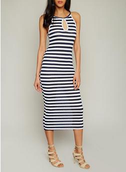 Striped Rib Knit Tank Dress with Keyhole - 1094058938091
