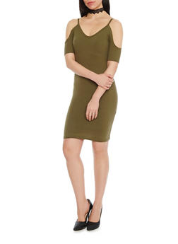 Solid Off The Shoulder Bodycon Dress - OLIVE - 1094060580150