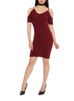Solid Off The Shoulder Bodycon Dress - 1094060580150