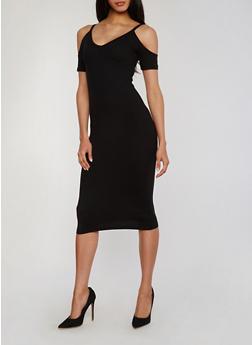 Mid Length Short Sleeve V Neck Cold Shoulder Dress - BLACK - 1094060580450