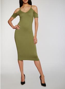 Mid Length Short Sleeve V Neck Cold Shoulder Dress - 1094060580450