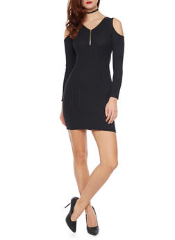 Cold Shoulder Zip Dress in Ribbed Knit - BLACK - 1094060580656