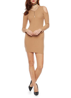 Rib Knit Cold Shoulder Mini Dress - 1094060580656