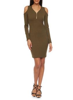 Rib Knit Cold Shoulder Mini Dress - 1094060580656