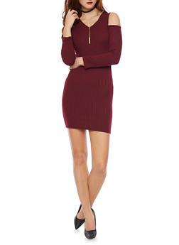 Rib Knit Cold Shoulder Mini Dress - BURGUNDY - 1094060580656