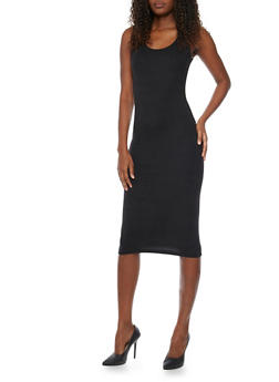 Sleeveless Midi Bodycon Tank Dress - BLACK - 1094060581950