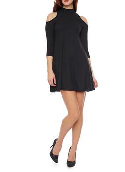 Mock Neck Cold Shoulder Swing Dress - BLACK - 1094060582350