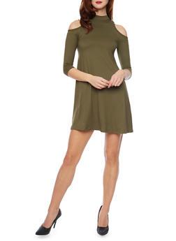 Mock Neck Cold Shoulder Swing Dress - 1094060582350