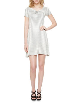 Striped Shift Dress with Lace Up Neckline - 1094060582575