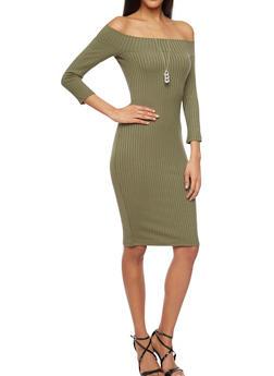 Off The Shoulder Rib Knit Bodycon Dress - 1094060582656