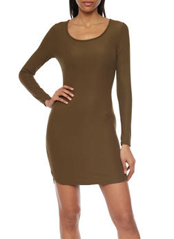 Long Sleeved Rib Knit Mini T Shirt Dress - 1094060582758