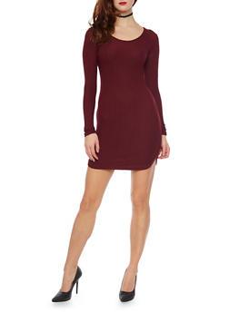 Long Sleeved Rib Knit Mini T Shirt Dress - 1094060582758