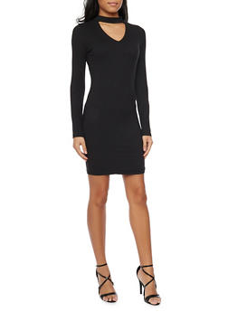 Long Sleeve Bodycon Dress with Cutout Choker Neckline - BLACK - 1094060583350