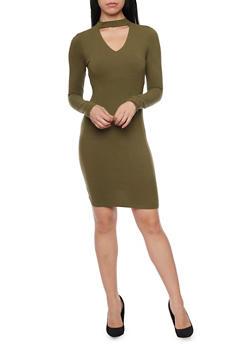 Long Sleeve Bodycon Dress with Cutout Choker Neckline - OLIVE - 1094060583350