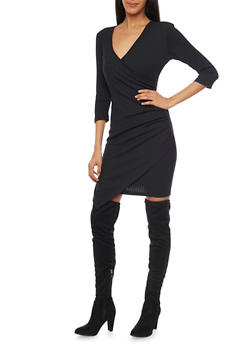 Rib Knit Wrap Front Dress with Asymmetrical Hem - BLACK - 1094060583656