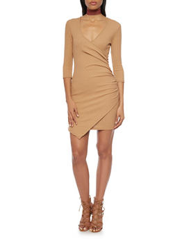Rib Knit Asymmetrical Wrap Front Dress - 1094060583656