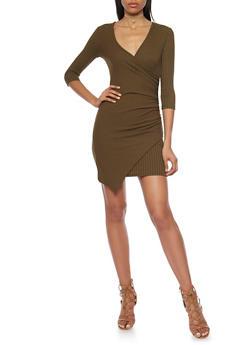 Rib Knit Wrap Front Dress with Asymmetrical Hem - OLIVE - 1094060583656