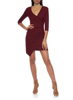 Rib Knit Asymmetrical Wrap Front Dress - 1094060583656