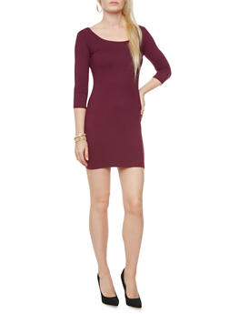Three Quarter Sleeve Scoopneck Bodycon Mini Dress,PLUM,medium