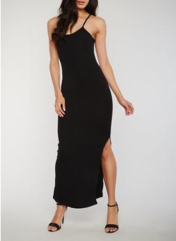 Sleeveless Rib Knit Maxi Dress with Side Slit - BLACK - 1094060584656