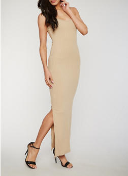 Sleeveless Rib Knit Maxi Dress with Side Slit - 1094060584656