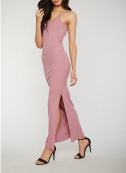 Sleeveless Rib Knit Maxi Dress with Side Slit - 1094060584656