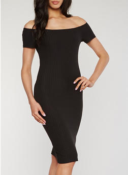 Off the Shoulder Solid Rib Knit Dress - 1094060584758