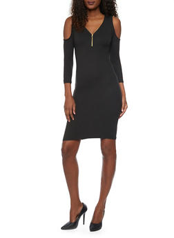 Zippered V Neck Cold Shoulder Dress - BLACK - 1094060585250