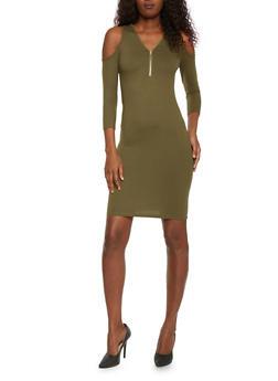 Zippered V Neck Cold Shoulder Dress - 1094060585250