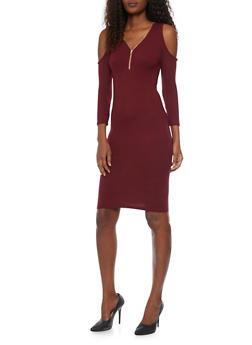 Zippered V Neck Cold Shoulder Dress - BURGUNDY - 1094060585250
