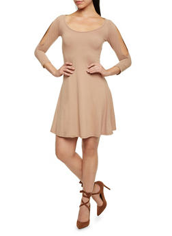 Cold Shoulder Fit and Flare Dress - 1094060585550