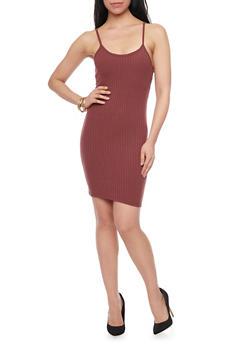 Rib Knit Caged Racerback Tank Dress - BURGUNDY - 1094060585656