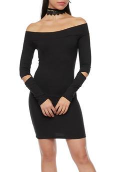Off the Shoulder Dress with Slashed Elbows - 1094060586250