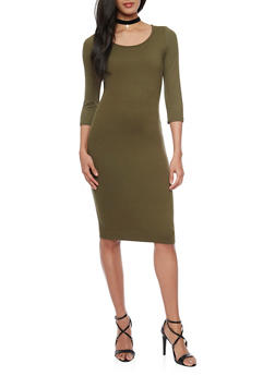 Mid Length Caged Upper Bodycon Dress - OLIVE - 1094060588250