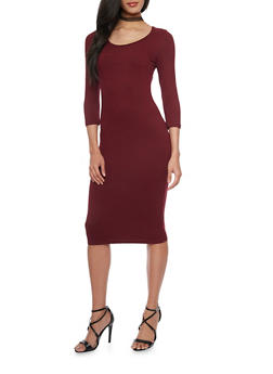 Mid Length Caged Upper Bodycon Dress - 1094060588250