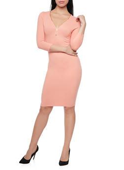 Soft Knit Midi Dress with Zip Neck - 1094060588350