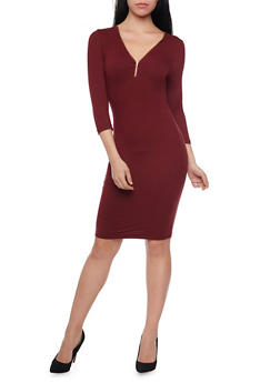 Knit Dress with Zip Front - 1094060588350