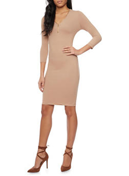 Soft Knit Midi Dress with Zip Neck - 1094060588350
