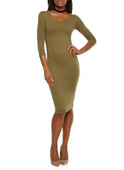 Soft Brushed Knit Bodycon Dress - OLIVE - 1094060589250